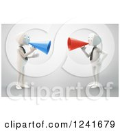 Clipart Of 3d Block Head Businessmen Communicating Through Megaphones Royalty Free Illustration by Mopic