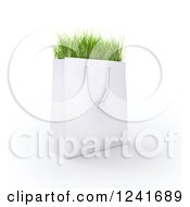 Clipart Of A 3d White Shopping Bag Full Of Grass Royalty Free Illustration by Mopic