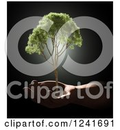 Clipart Of A 3d Human Hand Holding A Tree Royalty Free Illustration by Mopic