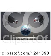 Clipart Of A 3d Earth Globe Under Video Surveillance Cameras Royalty Free Illustration