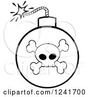 Clipart Of A Black And White Lit Skull And Crossbones Bomb Royalty Free Vector Illustration