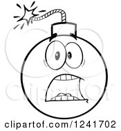 Clipart Of A Black And White Screaming Scared Bomb Mascot Royalty Free Vector Illustration