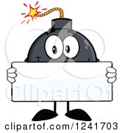 Clipart Of A Happy Bomb Mascot Holding A Blank Sign Royalty Free Vector Illustration by Hit Toon