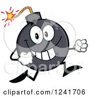 Clipart Of A Happy Bomb Mascot Running Royalty Free Vector Illustration by Hit Toon