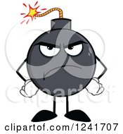 Clipart Of A Mad Bomb Mascot With Hands On His Hips Royalty Free Vector Illustration by Hit Toon