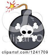 Clipart Of A Lit Skull And Crossbones Bomb Royalty Free Vector Illustration