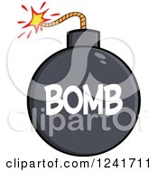 Clipart Of A Lit Bomb With Text Royalty Free Vector Illustration by Hit Toon