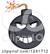 Clipart Of A Grinning Mischievous Bomb Mascot Royalty Free Vector Illustration by Hit Toon