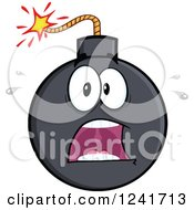 Clipart Of A Screaming Scared Bomb Mascot Royalty Free Vector Illustration by Hit Toon