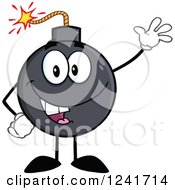 Clipart Of A Happy Bomb Mascot Waving Royalty Free Vector Illustration by Hit Toon