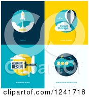 Clipart Of Internet And SEO Icons Royalty Free Vector Illustration