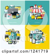 Clipart Of Financial And Ecommercie Icons Royalty Free Vector Illustration