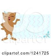 Happy Brown Cat Over Zig Zags