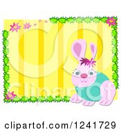 Clipart Of A Pink Rabbit Over Yellow Stripes Royalty Free Vector Illustration by bpearth