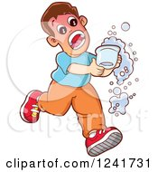 Boy Screaming And Running With A Hot Beverage