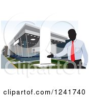 Clipart Of A Manager At A Car Dealership Royalty Free Vector Illustration