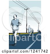 Clipart Of A Marathon Runners On A Road Royalty Free Vector Illustration