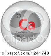 3d Round Red And Silver Calcium Chemical Element Icon