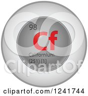 3d Round Red And Silver Californium Chemical Element Icon