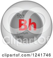 3d Round Red And Silver Bohrium Chemical Element Icon