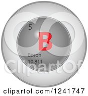 Clipart Of A 3d Round Red And Silver Boron Chemical Element Icon Royalty Free Vector Illustration