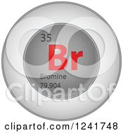Clipart Of A 3d Round Red And Silver Bromine Chemical Element Icon Royalty Free Vector Illustration