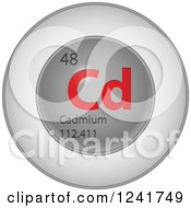 3d Round Red And Silver Cadmium Chemical Element Icon