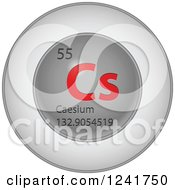 3d Round Red And Silver Caesium Chemical Element Icon
