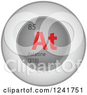 3d Round Red And Silver Astatine Chemical Element Icon