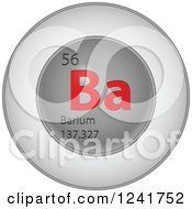3d Round Red And Silver Barium Chemical Element Icon