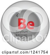 Clipart Of A 3d Round Red And Silver Beryllium Chemical Element Icon Royalty Free Vector Illustration
