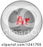 3d Round Red And Silver Argon Chemical Element Icon