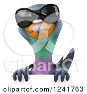 Clipart Of A 3d Pigeon Wearing Sunglasses Over A Sign Royalty Free Illustration
