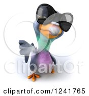 Clipart Of A 3d Pigeon Wearing Sunglasses And Giving A Thumb Down Royalty Free Illustration
