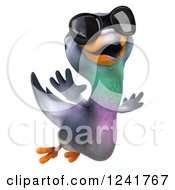 Clipart Of A 3d Pigeon Wearing Sunglasses And Flying Royalty Free Illustration