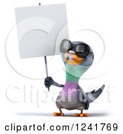 Clipart Of A 3d Pigeon Wearing Sunglasses And Holding A Blank Sign Royalty Free Illustration