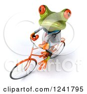 Clipart Of A 3d Green Doctor Springer Frog Riding A Bicycle Royalty Free Illustration