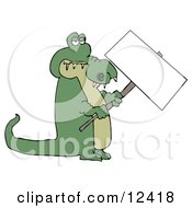 Green Alligator Holding A Blank Sign Clipart Illustration