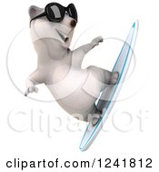 Clipart Of A 3d Polar Bear Surfing And Wearing Sunglasses 2 Royalty Free Illustration by Julos