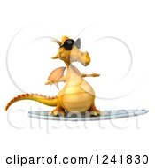 Clipart Of A 3d Yellow Dragon Wearing Sunglasses And Surfing 3 Royalty Free Illustration