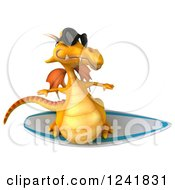 Clipart Of A 3d Yellow Dragon Wearing Sunglasses And Surfing 2 Royalty Free Illustration