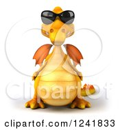 Clipart Of A 3d Yellow Dragon Wearing Sunglasses Royalty Free Illustration by Julos