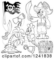 Clipart Of A Black And White Male Pirate And Accessories Royalty Free Vector Illustration by visekart