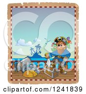 Clipart Of A Pirate Captain On Deck Royalty Free Vector Illustration