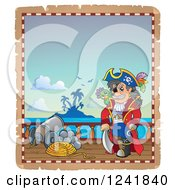 Clipart Of A Pirate Captain On A Deck Royalty Free Vector Illustration