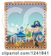 Clipart Of A Pirate Captain Holding A Treasure Map On Deck Royalty Free Vector Illustration by visekart