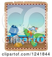 Clipart Of A Pirate Parrot On Deck Royalty Free Vector Illustration