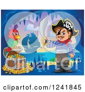 Clipart Of A Pirate Captain With A Sword Parrot And Treasure In A Cave Royalty Free Vector Illustration