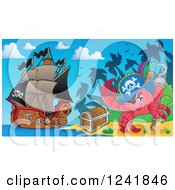 Clipart Of A Pirate Crab With A Treasure Chest On A Beach Royalty Free Vector Illustration