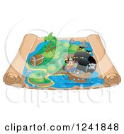 Clipart Of A Pirate And Ship On A Scroll Treasure Map Royalty Free Vector Illustration